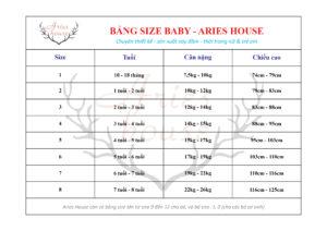 Bảng size váy trẻ em Aries House (size 1-8)