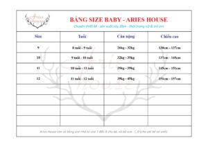 Bảng size váy trẻ em Aries House (size 9-12)